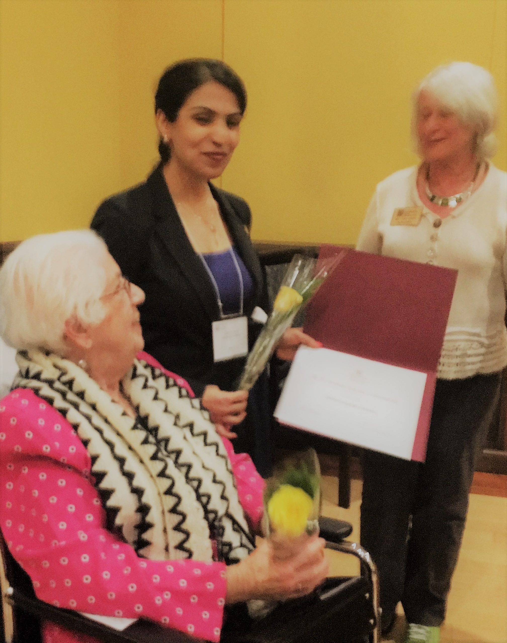 Dr. Zohreh Assa, Amelia Earhart Fellow, receiving her Silver Wings